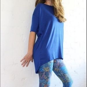 LuLaRoe Irma Large Solid Blue Tunic Dress
